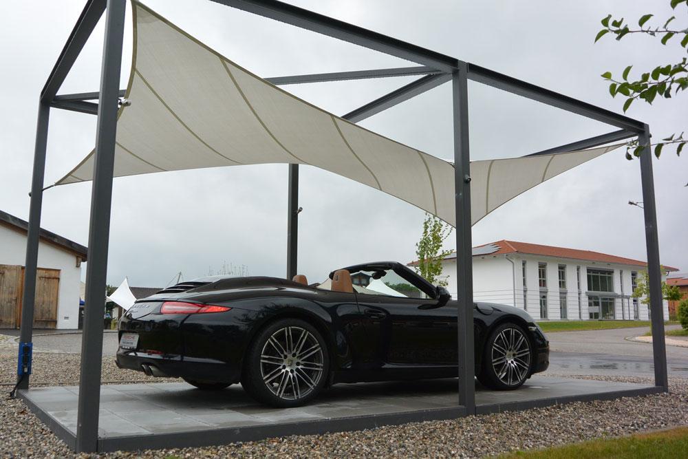 aerosun® Kubus, Wetterschutz und Sonnenschutz als Carport, Porsche