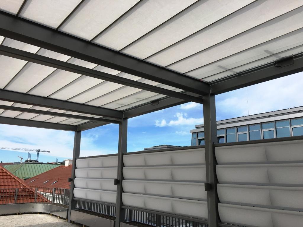 aeronautec Reffmembrane zeitlos und filigraner Wetter- und Sonnenschutz, Dachterrasse mit Sichtschutz