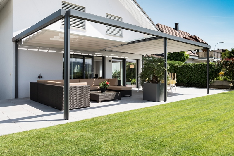 aeronautec Reffmembran Pergola als Wetterschutz Sonnenschutz für Terrasse, mit Sichtschutz möglich