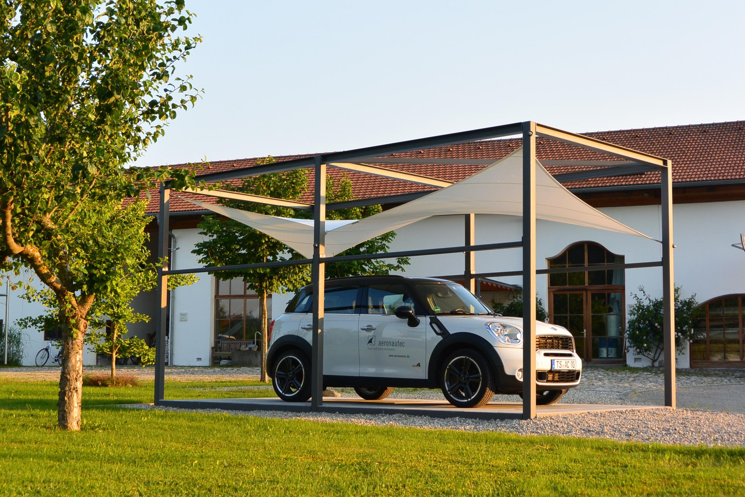aeronautec Kubus- Sonnensegel, Ganzjahressegel- wasserdicht, schneefest & sturmsicher, Carport BMW