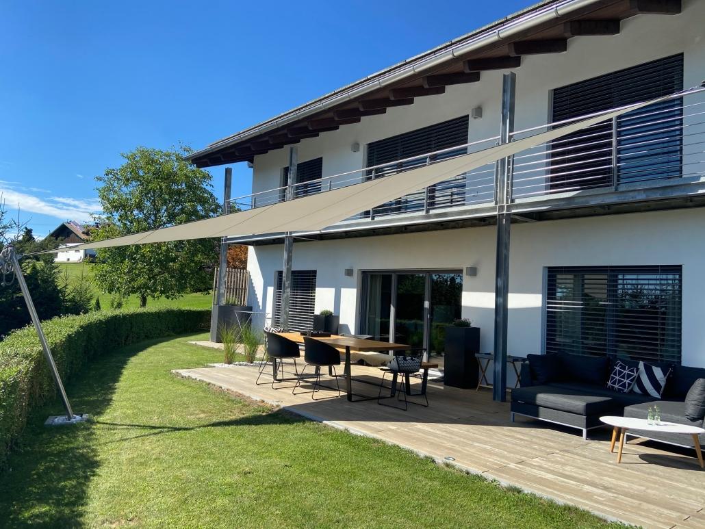 aerosun® 180 3-Punkt-Sonnensegel | wasserdicht & sturmsicher, Schatten auf der Terrasse, Dreieck, premium, Sonnenschutz